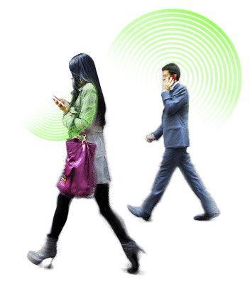 Man & Woman Walking With Cell Phones